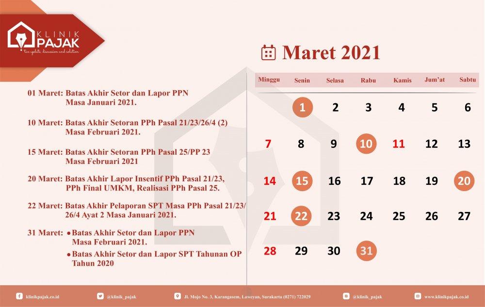 KALENDER PAJAK BULAN MARET 2021 - Rev