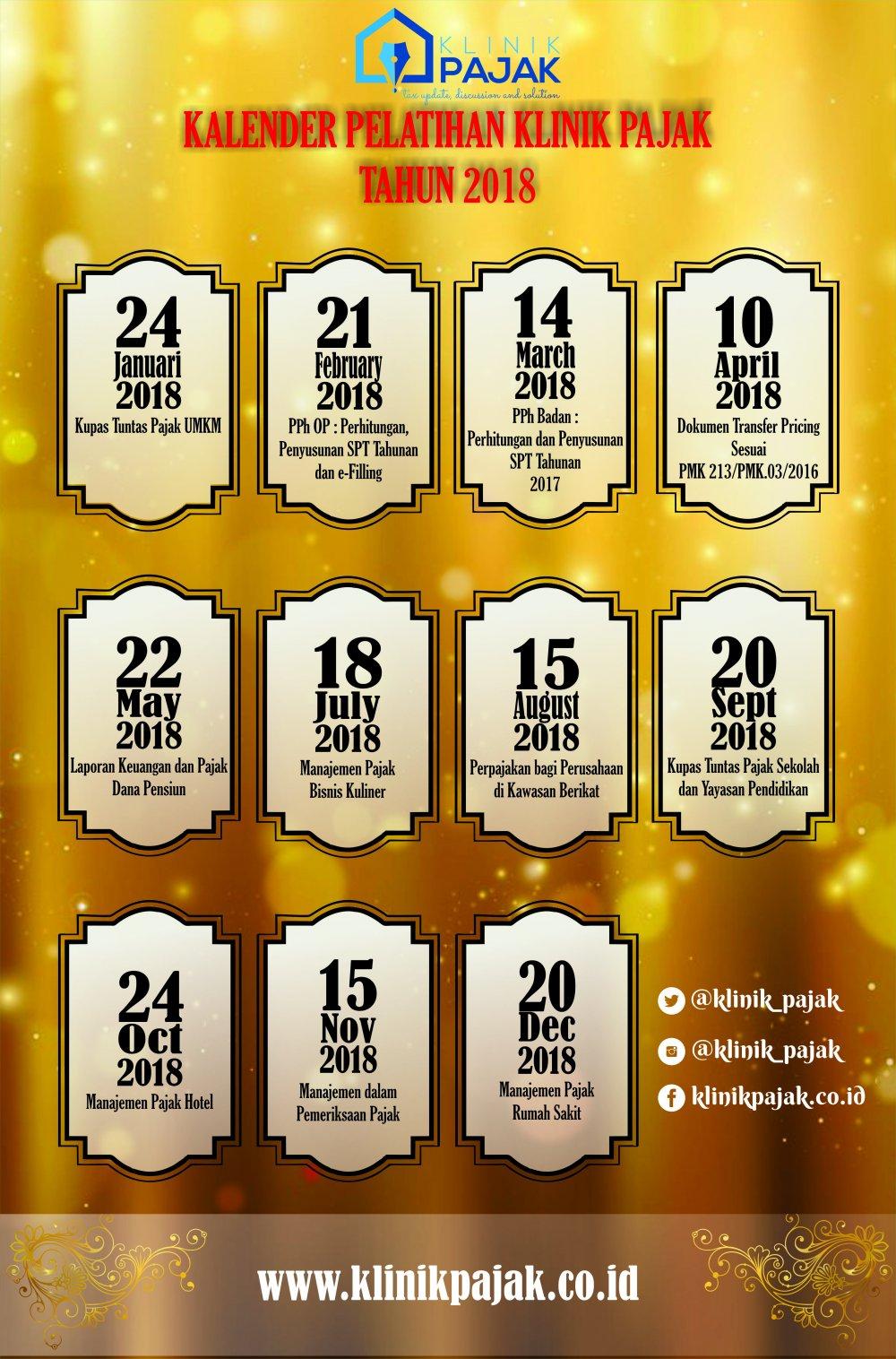 Kalender Pelatihan Pajak 2018